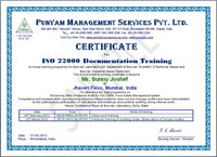 ISO 22000 training certificate