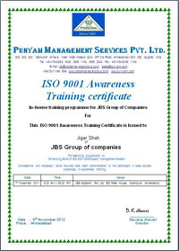ISO 9001 Awareness Training Certificate